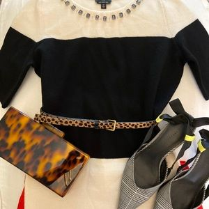 Talbots Black and Cream Sweater with Jewels.